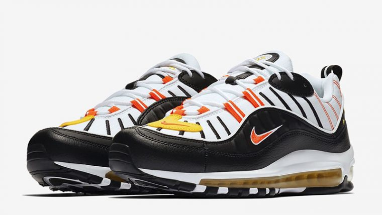 Nike Air Max 98 White Fiery Red front thumbnail image