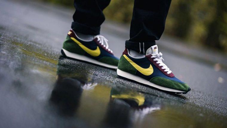 Nike Daybreak Yellow Bonsai CT3441-400 on foot back side thumbnail image