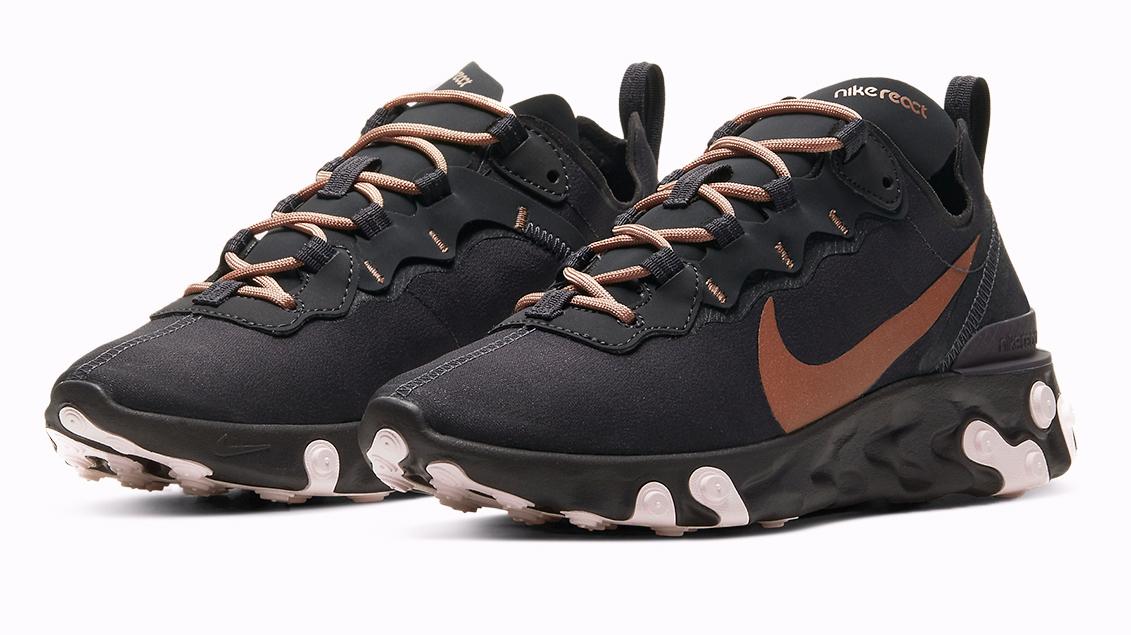 Nike react element 55 black gold
