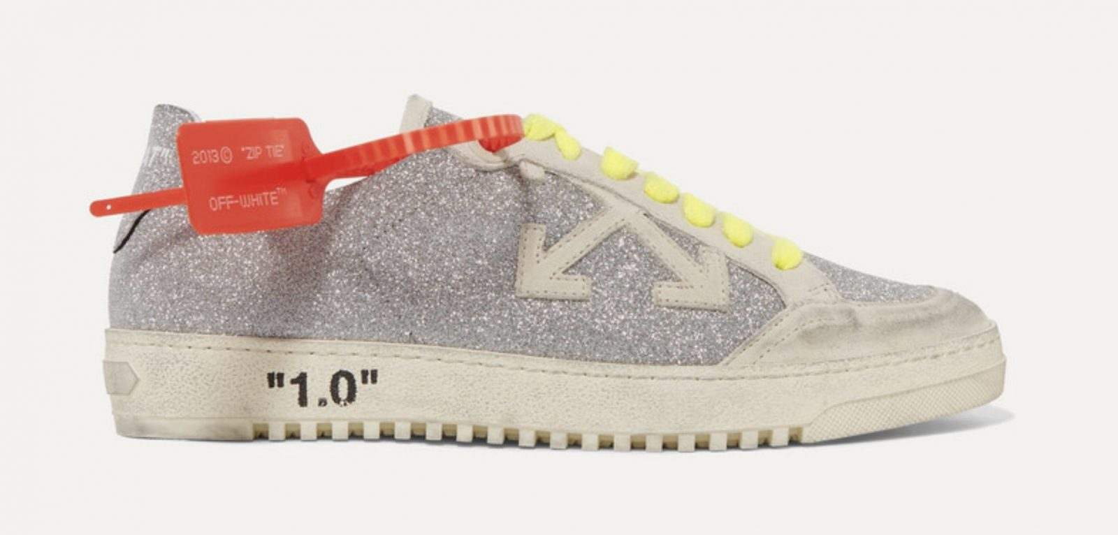 Off-White Arrow 2.0 distressed glittered leather