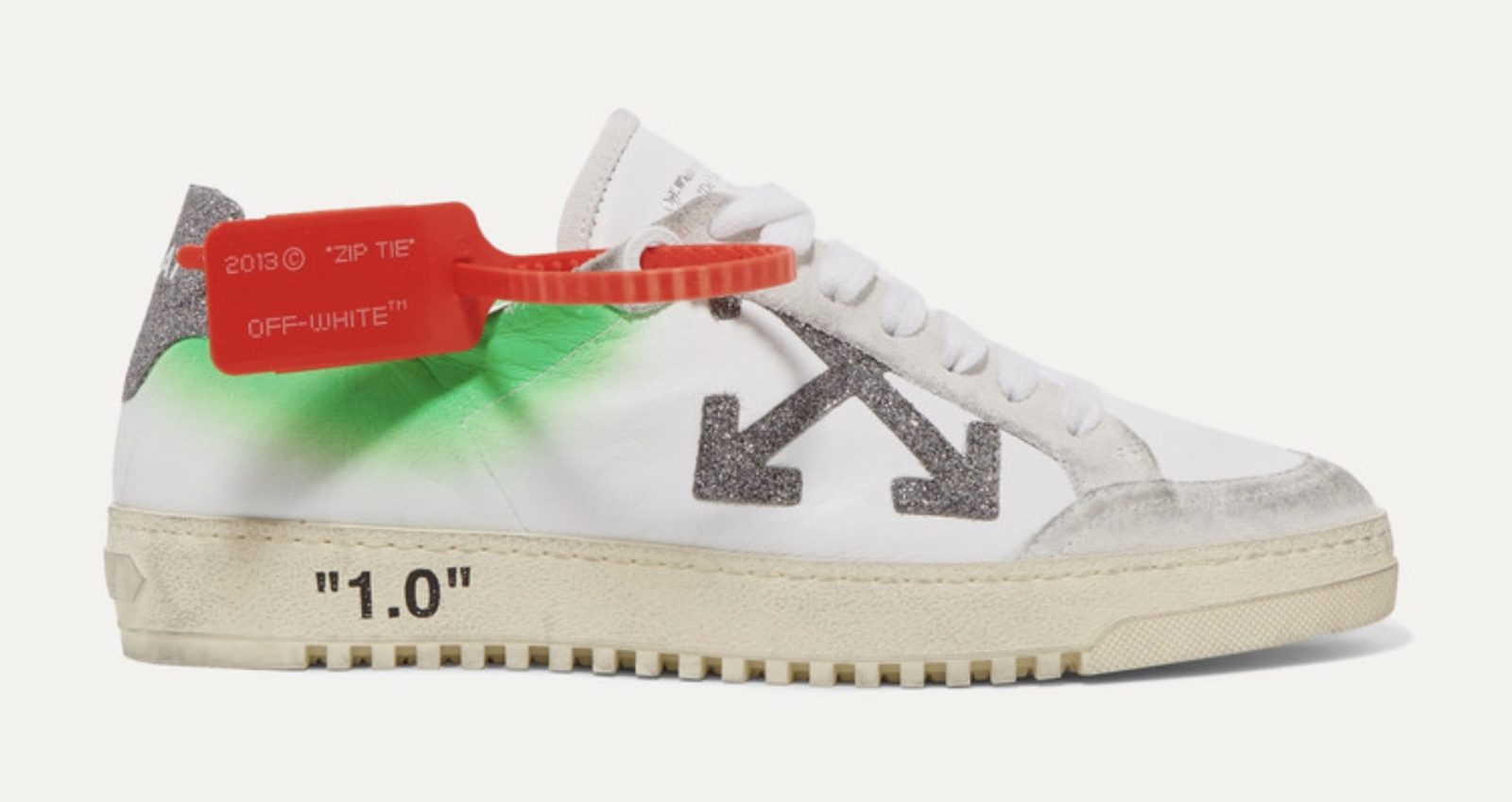 Off-White Arrow 2.0 distressed leather and suede sneakers