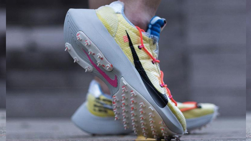 Off-White x Nike Vapor Street Yellow Multi CD8178-700 on foot back