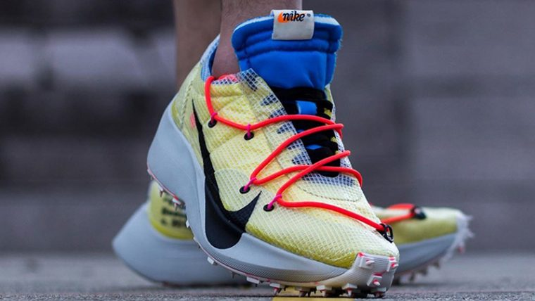 Off-White x Nike Vapor Street Yellow Multi CD8178-700 on foot front thumbnail image
