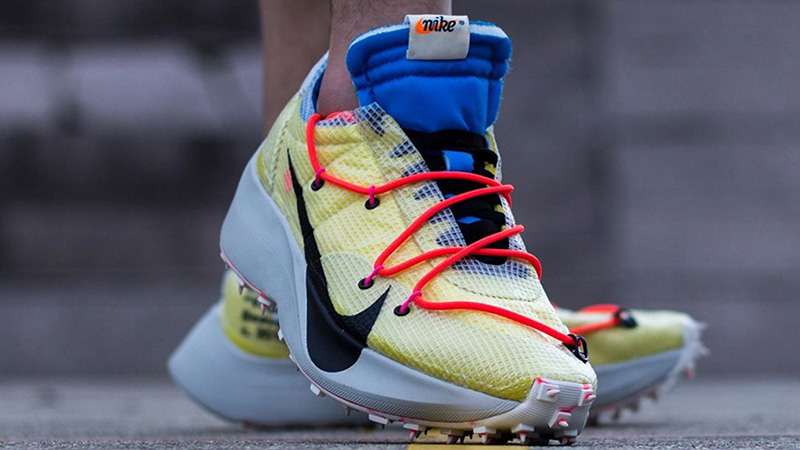 Off-White x Nike Vapor Street Yellow Multi CD8178-700 on foot front
