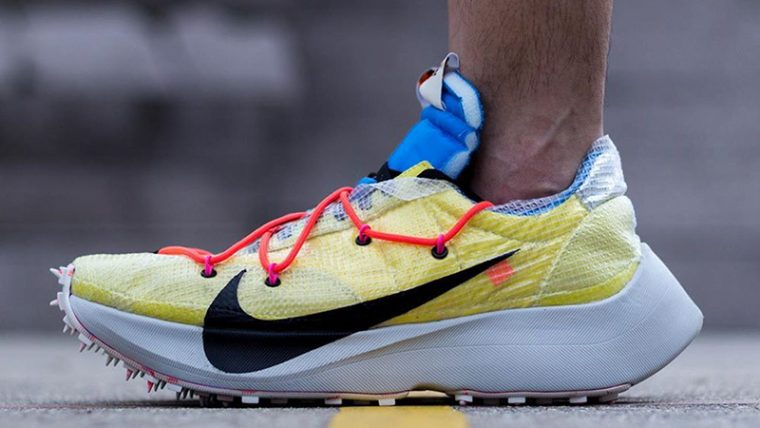 Off-White x Nike Vapor Street Yellow Multi CD8178-700 on foot side thumbnail image