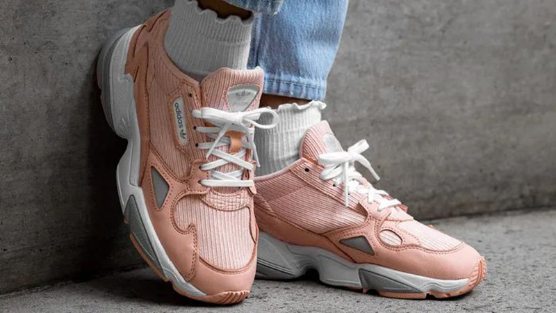 adidas Falcon Pink White EE5122 on foot front