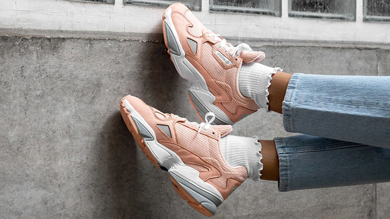 adidas Falcon Pink White EE5122 on foot side