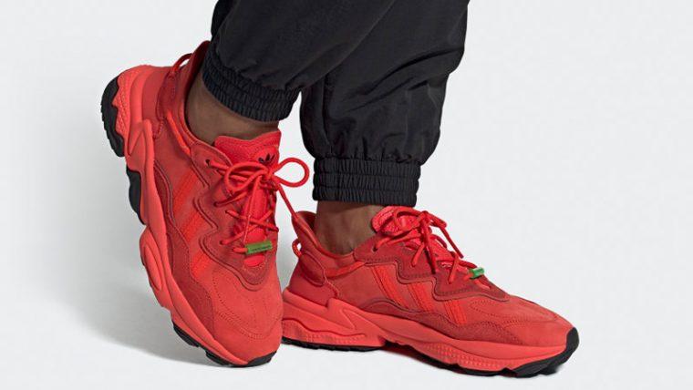 adidas Ozweego TR Red EE7000 on foot thumbnail image