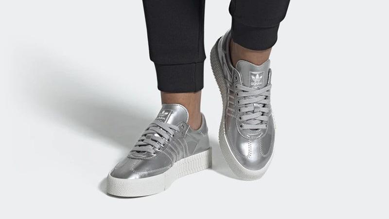 adidas Sambarose Metallic Silver FV4325 on foot
