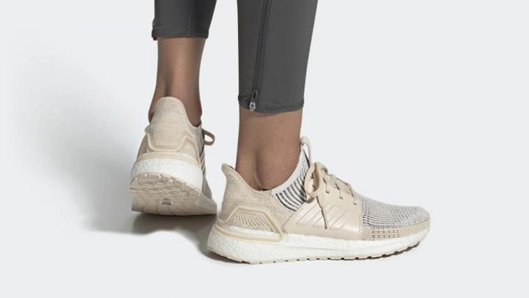 adidas Ultra Boost 19 White Lilen G27492 on foot thumbnail image