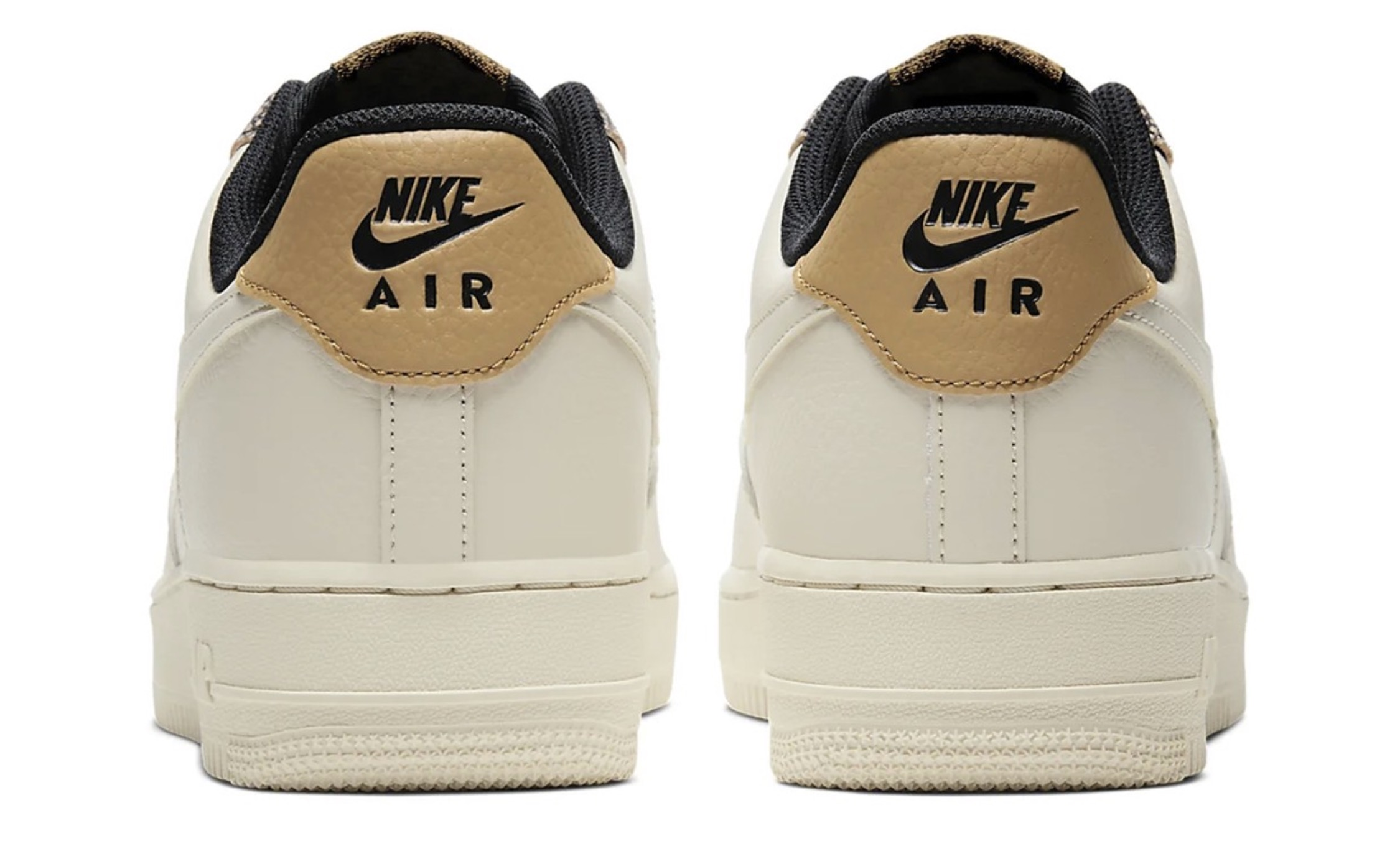 """Nike's Air Force 1 07 in """"Fossil:Wheat:Shimmer"""" 5 heel"""