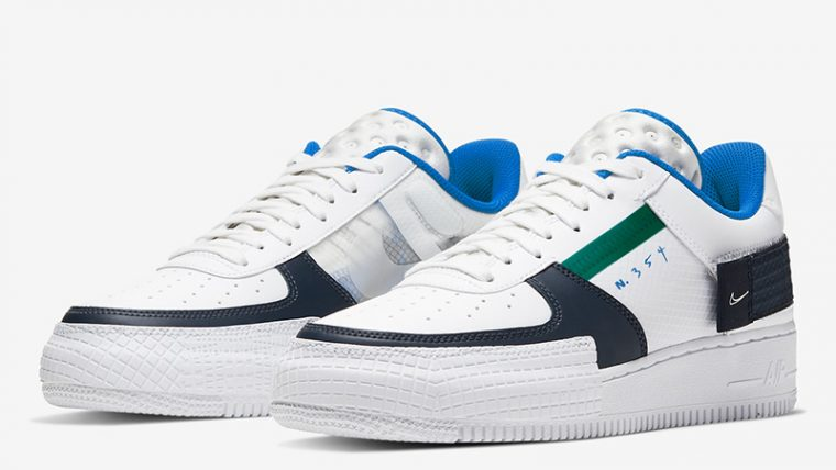 Nike Air Force 1 Type White Blue CQ2344-100 front thumbnail image