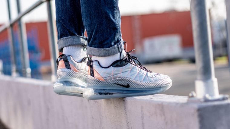Nike Air Max 720-818 Metallic Silver BV5841-001 on foot thumbnail image