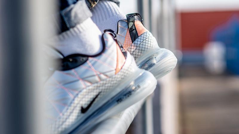 Nike Air Max 720-818 Metallic Silver BV5841-001 on foot back
