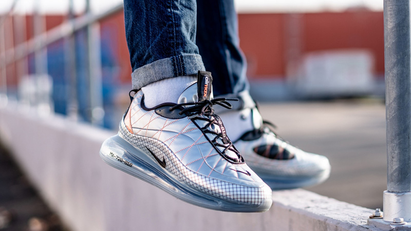 Nike Air Max 720-818 Metallic Silver BV5841-001 on foot front