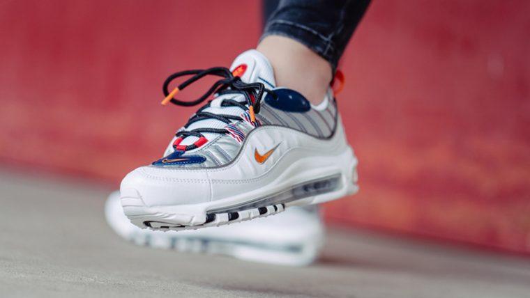 Nike Air Max 98 Premium White Grey CQ3990-100 on foot thumbnail image