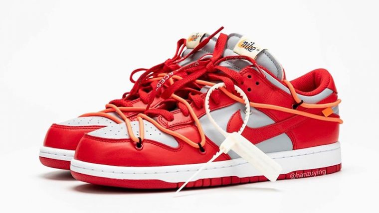 Off-White x Nike Dunk Low Red Grey CT0856-600 front thumbnail image