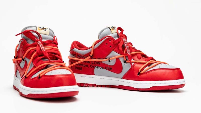Off-White x Nike Dunk Low Red Grey CT0856-600 lifestyle