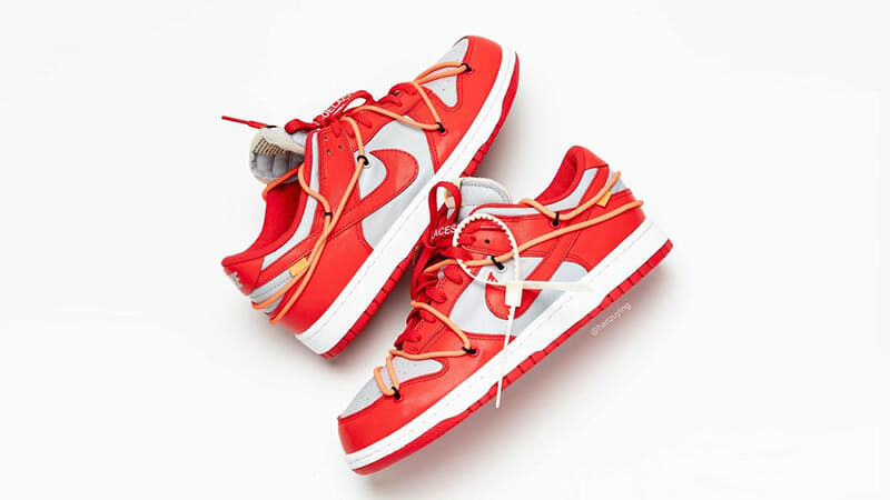Off-White x Nike Dunk Low Red Grey CT0856-600 side