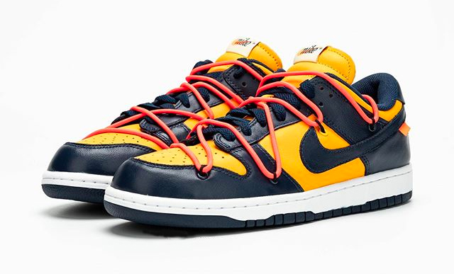 Off-White x Nike Dunk Low University Gold side