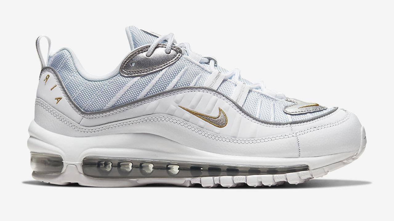 Air MAx 98 Se White Metallic Gold Silver