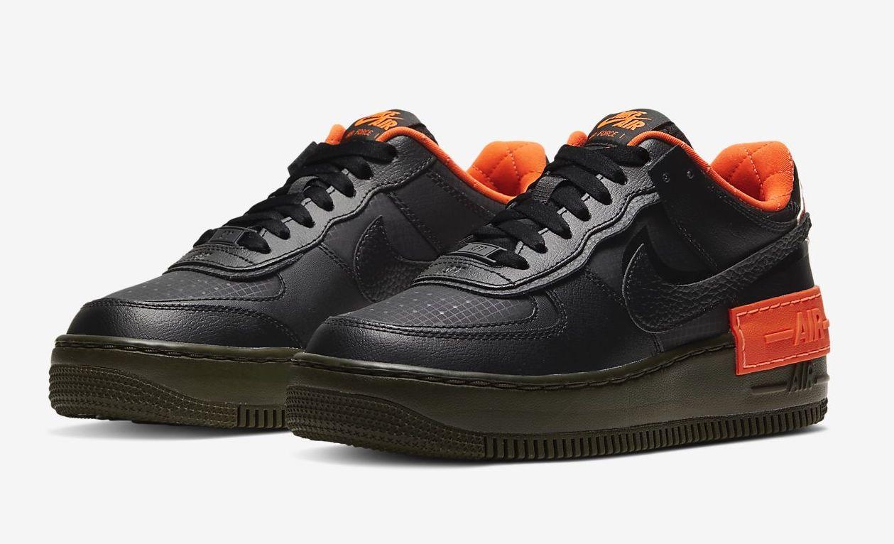 Air force 1 shadow black orange.