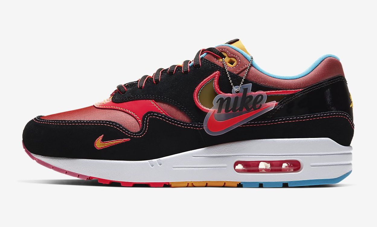 Nike Air Max 1 NYC Chinatown Black red side