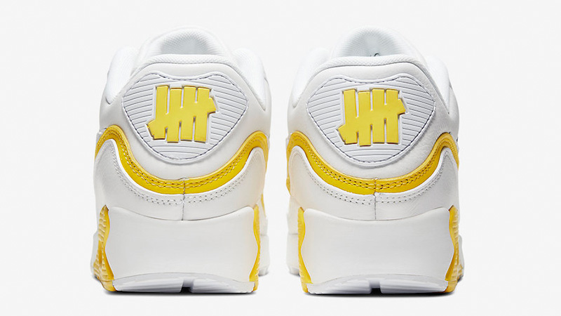 UNDEFEATED x Nike Air Max 90 White Yellow CJ7197-101 back