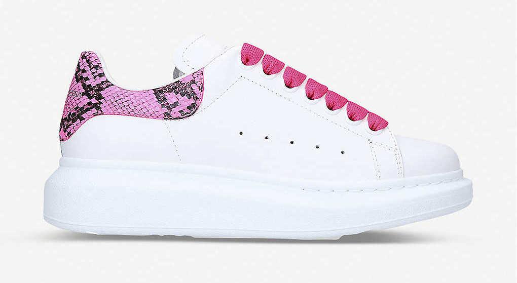 Alexander McQueen Runway Platform White Pink Snakeskin