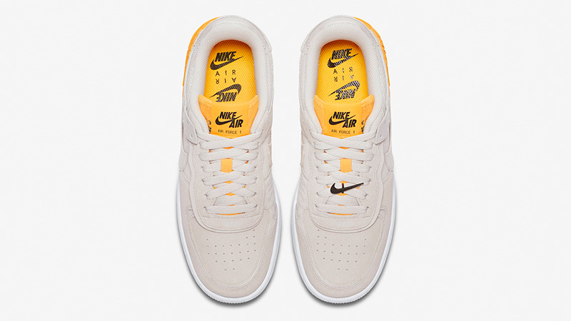Nike Air Force 1 Shadow Beige Orange Where To Buy Cu3446 001 The Sole Womens Relatively simple from first impressions, this soft grey women's pair has citrus orange accents and a removable swoosh lace. nike air force 1 shadow beige orange
