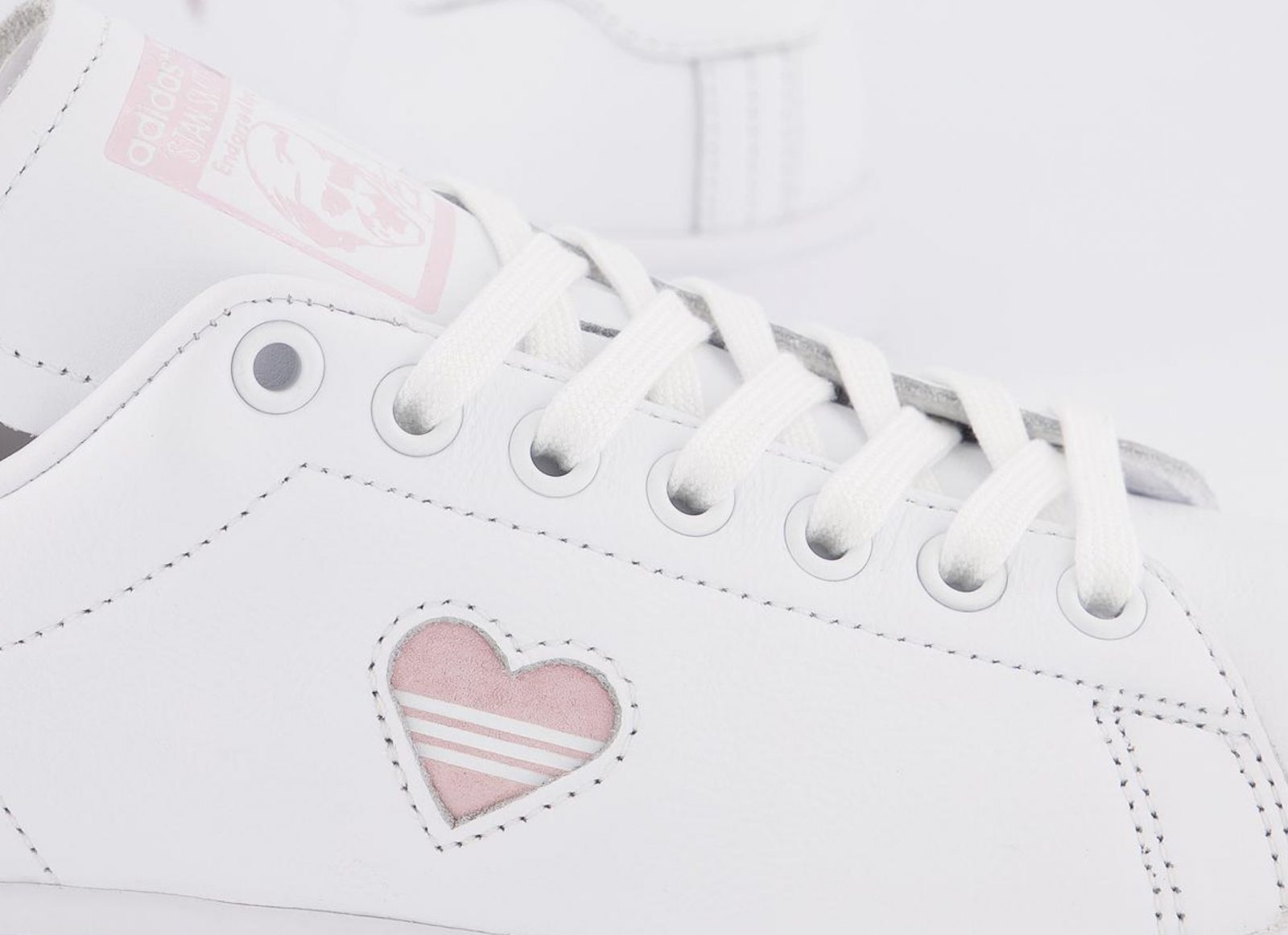 This Pretty Pink Heart adidas Stan Smith 'Valentine's Day' Just Dropped! sidewall