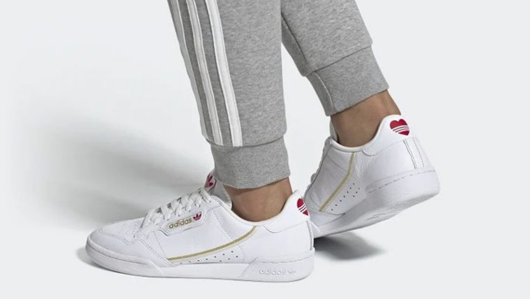 adidas Continental 80 Valentines Day White FW6391 on foot thumbnail image