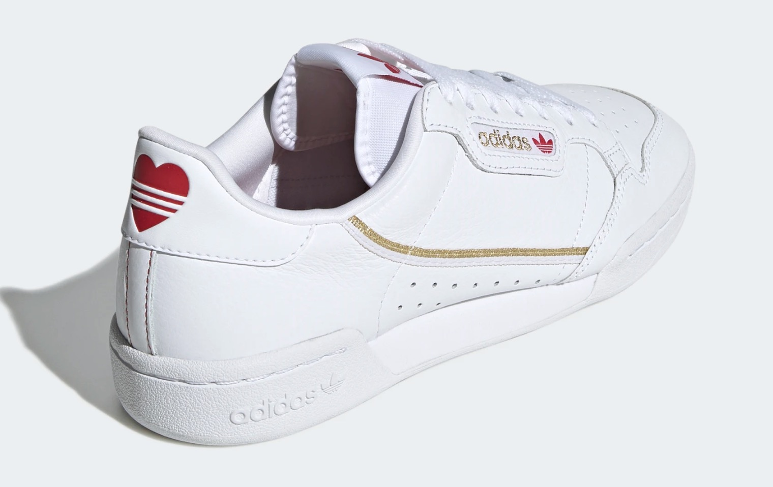 adidas Continental 80 White Red Heart 2 heel