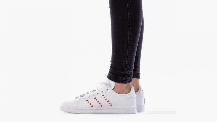 adidas Stan Smith Valentines Heart Red On Foot thumbnail image