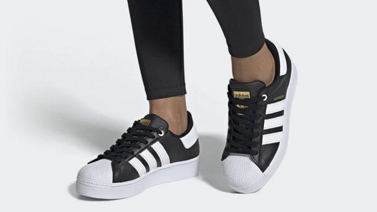 adidas Superstar Bold Black White FV3335 on foot thumbnail image