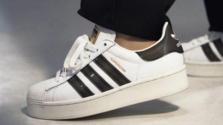 adidas Superstar Bold White Black FV3356 on foot thumbnail image
