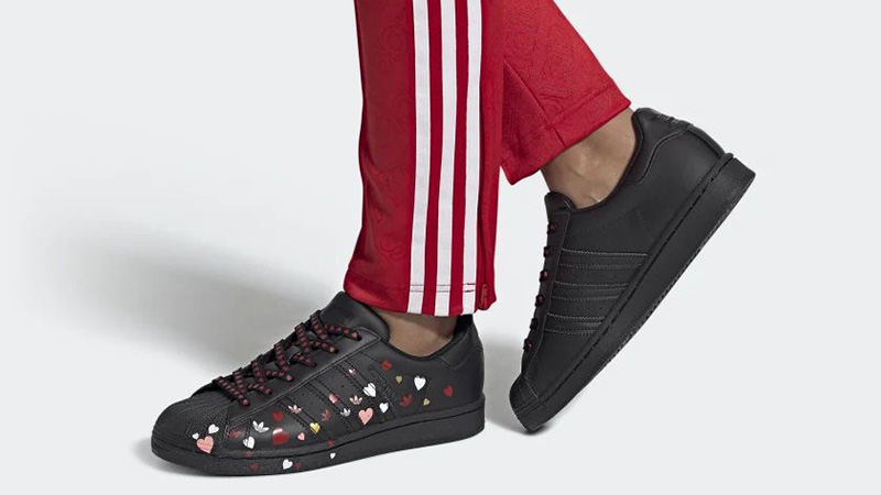 adidas Superstar Valentines Day Black FV3288 on foot