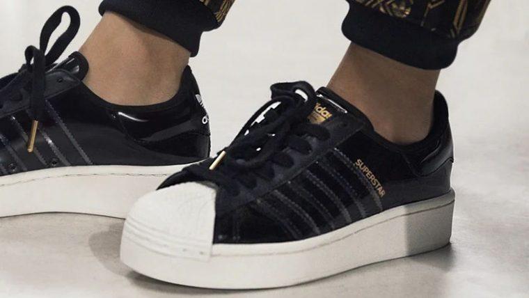 adidas Superstart Black White FW8423 on foot thumbnail image
