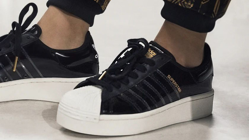 adidas Superstart Black White FW8423 on foot