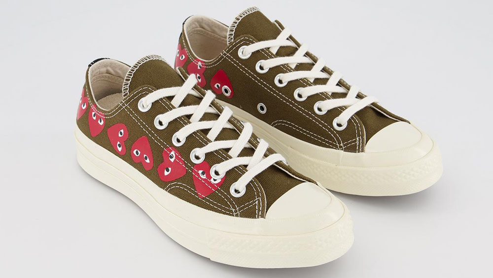 COMME des GARCONS Play x Conoverse Chuck 70 Low Heart Print Green