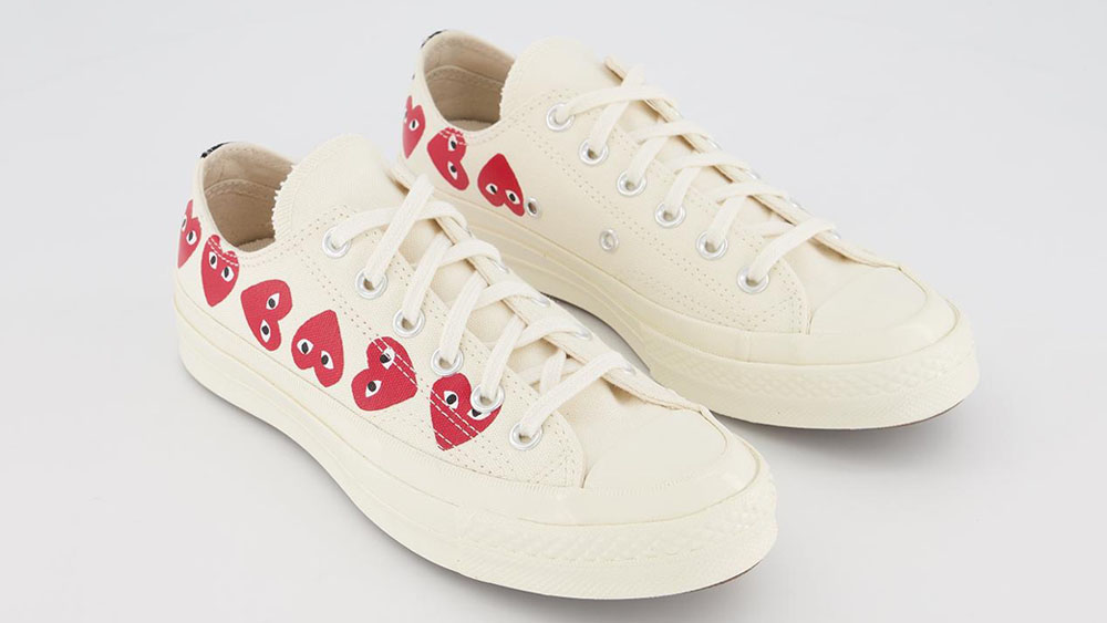 COMME des GARCONS Play x Conoverse Chuck 70 Low Heart Print