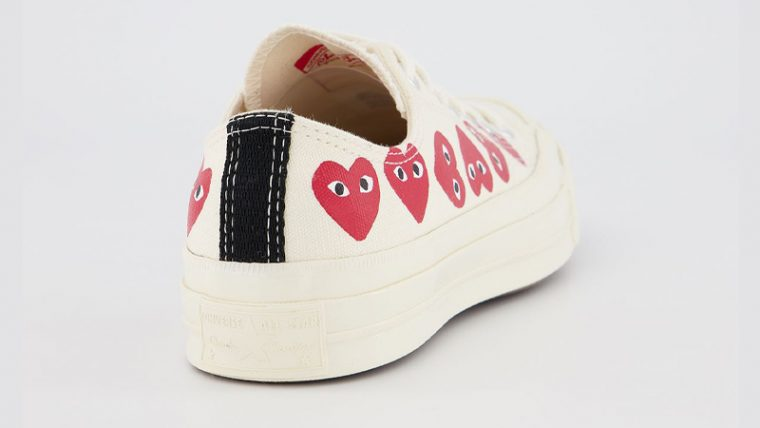 Comme des Garcons Play x Converse Multi Red Heart Chuck Taylor All Star 70 Low White Back thumbnail image