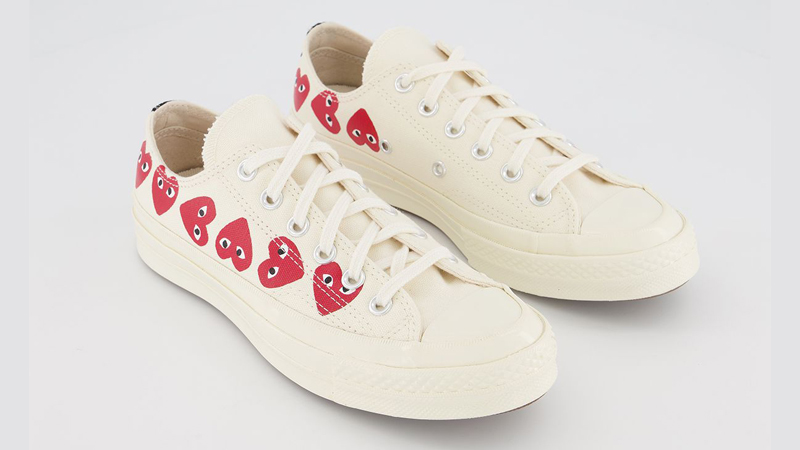 Comme des Garcons Play x Converse Multi Red Heart Chuck Taylor All Star 70 Low White Front
