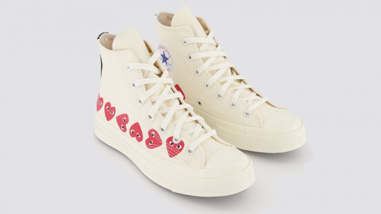Comme des Garcons Play x Converse Multi Red Heart Chuck Taylor All Star 70 Low White Front thumbnail image