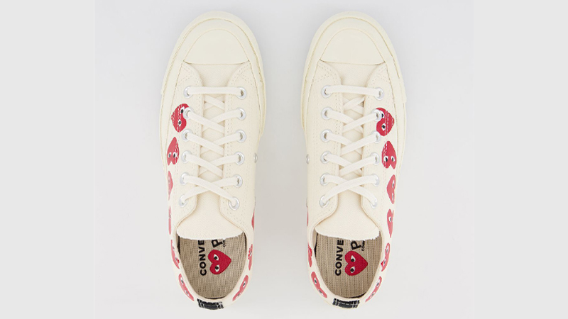 Comme des Garcons Play x Converse Multi Red Heart Chuck Taylor All Star 70 Low White Middle