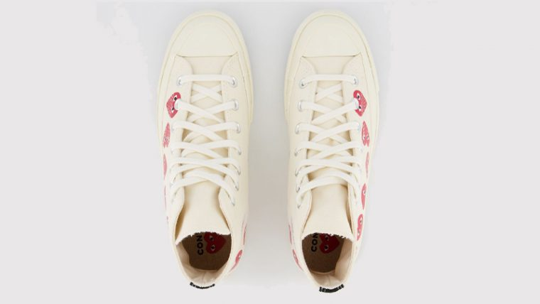 Comme des Garcons Play x Converse Multi Red Heart Chuck Taylor All Star 70 Low White Middle thumbnail image