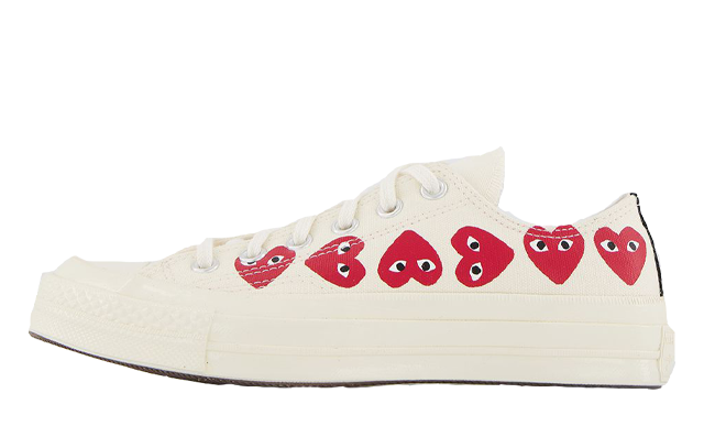 Comme des Garcons Play x Converse Multi Red Heart Chuck Taylor All Star 70 Low White