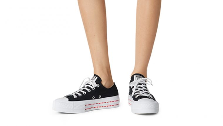 Love Fearlessly x Converse Chuck Taylor All Star Black On Foot thumbnail image