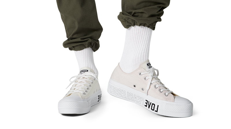 Love Fearlessly x Converse Chuck Taylor All Star White On Foot