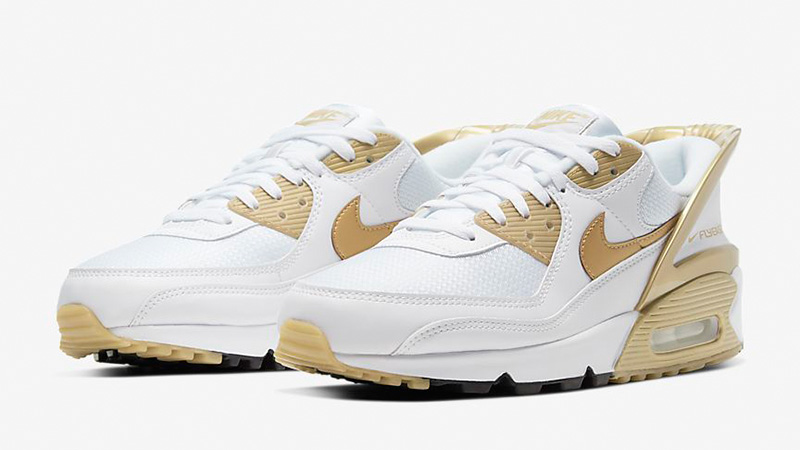 Nike Air Max 90 FlyEase White Metallic Gold CU0814-100 front